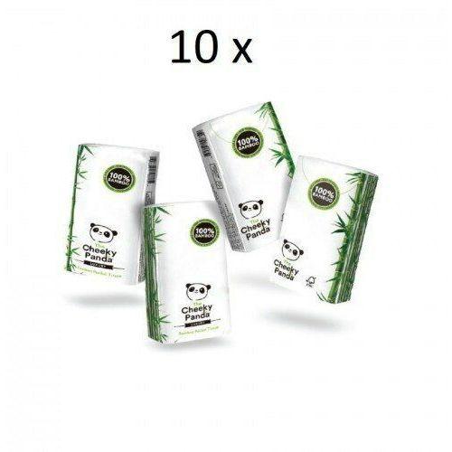 10 x THE CHEEKY PANDA 100% Bambusowe Chusteczki higieniczne kieszonkowe 8op