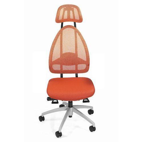 Efektowne obrotowe krzesło biurowe, z zagłówkiem i oparciem siatkowym, całk. wys marki Topstar