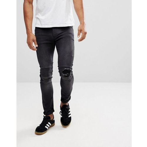 Religion biker jeans with rip repair knee detail in skinny fit with stretch - black