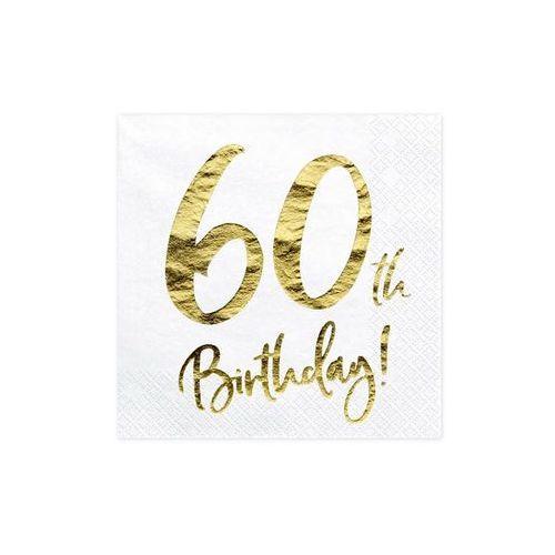 """Serwetki """"60th Birthday - złote urodziny"""", PartyDeco, białe, 33 cm, 20 szt (5900779100749)"""
