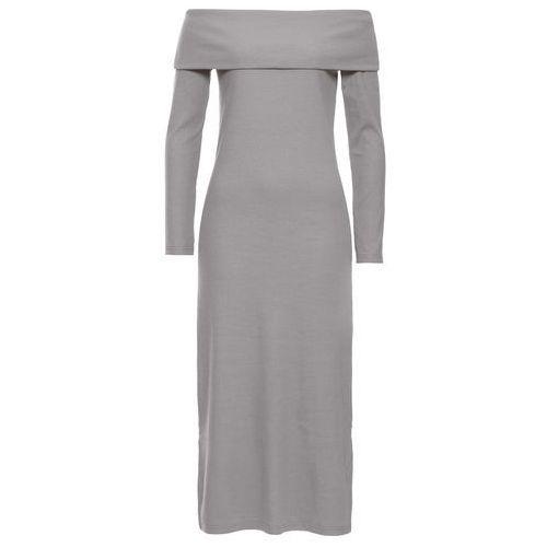 Sukienka z odsłoniętymi ramionami bonprix jasnoszary, kolor szary