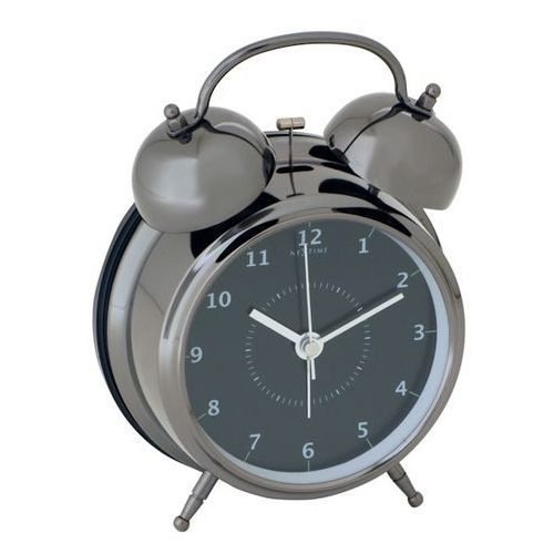 Budzik Nextime Wake Up 12 cm black