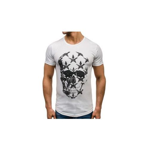T-shirt męski z nadrukiem biały Denley 301