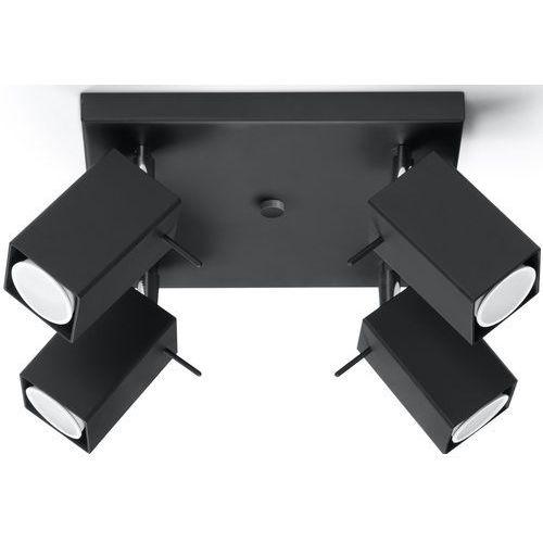 Natynkowa LAMPA sufitowa SOL SL.102 kwadratowa OPRAWA regulowana SPOT reflektorki czarne, kolor Czarny