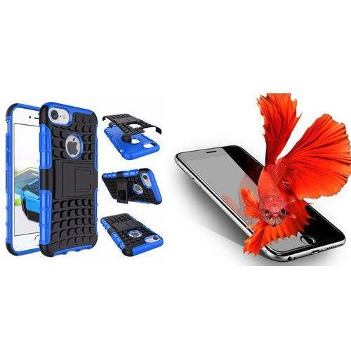Zestaw | perfect armor niebieski | pancerna obudowa + szkło ochronne perfect glass dla modelu apple iphone 7 plus marki Perfect armor / perfect glass