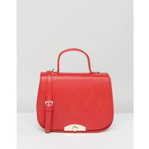 Marc B Red Saddle Bag with Handle and Detachable Cross Body Strap - Red