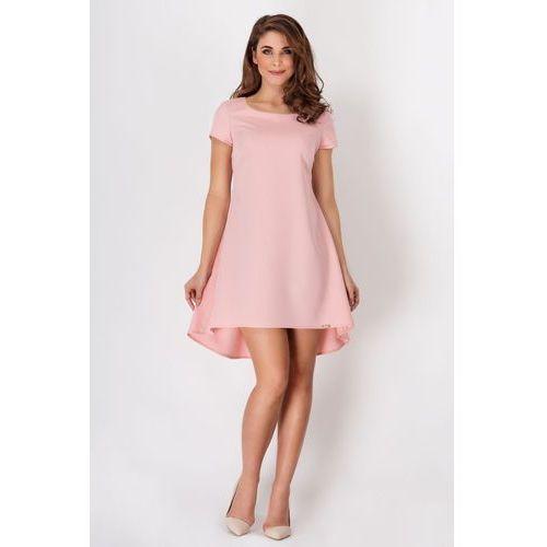 Różowa Letnia Kloszowana Sukienka z Dłuższym Tyłem w Kontrafałdy, w 4 rozmiarach