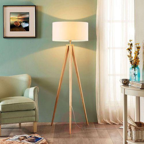 Trójnożna drewniana lampa stojąca mya, biały klosz marki Lindby