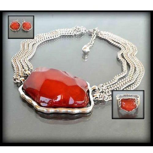 Komplet biżuterii z dużym czerwonym kamieniem: naszyjnik, bransoletka i kolczyki - czerwony, kolor czerwony