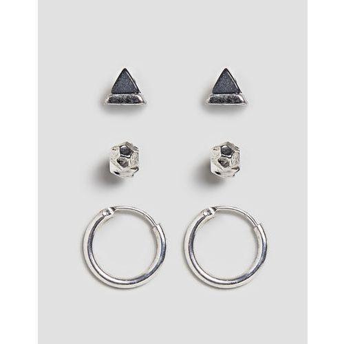 stud & hoop earrings in silver 3 pack - black marki Icon brand