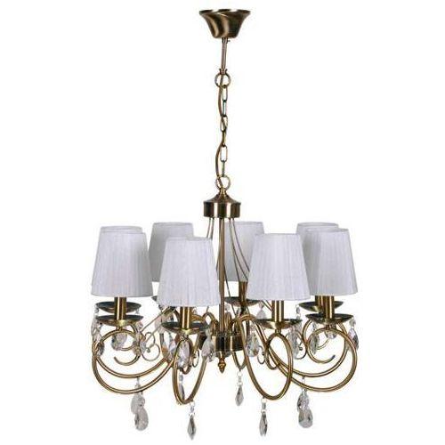 Żyrandol LAMPA wisząca DYNASTY 38-09111 Candellux klasyczna OPRAWA abażurowa RETRO patyna biała, kolor Biały