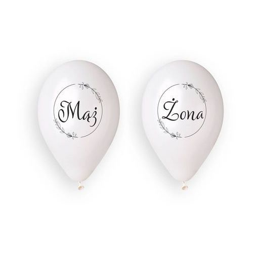 Gemar Balony lateksowe z nadrukiem weselnym mąż i żona - 33 cm - 4 szt.