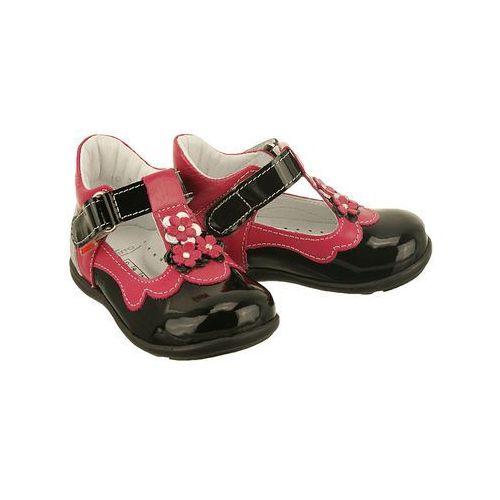 ZARRO 2121/12 czarno-różowy, balerinki trzewiki dziecięce, rozmiary 19-24