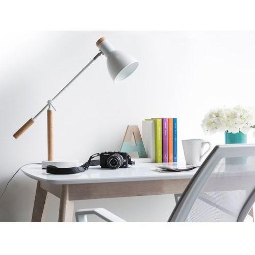 Beliani Lampa biurkowa nocna drewno regulowana biała peckos (4260580929641)