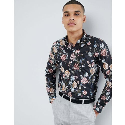 Selected homme smart shirt with all over print in slim fit - black