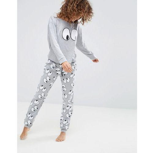 ASOS All Over Eyes Off The Shoulder Long Sleeve Tee & Jogger Pyjama Set - Multi