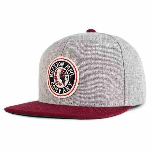 czapka z daszkiem BRIXTON - Rival Light Heather Grey/Burgundy (LHGBU) rozmiar: OS, kolor szary