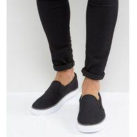 wide fit slip on plimsolls in black canvas - black, Asos