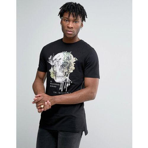 River Island Longline T-Shirt With Skull Print And Distressing In Black - Black