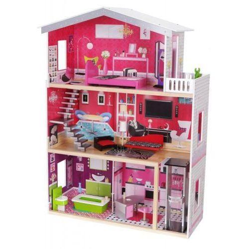 """Drewniany domek dla lalek barbie """"rezydencja malibu"""" z windą marki Ecotoys"""
