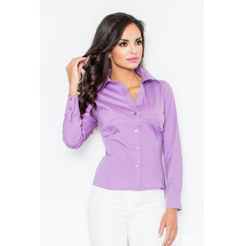 Fioletowa Klasyczna Koszula z Długim Rękawem