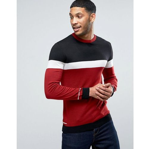 River island  light knit jumper with blocking in navy and red - red