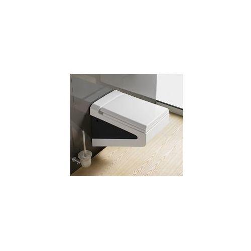 FLAVIO Miska WC wisząca czarno/biała + deska wolnoopadająca, MISKAFLAVIO+DESKAW/O