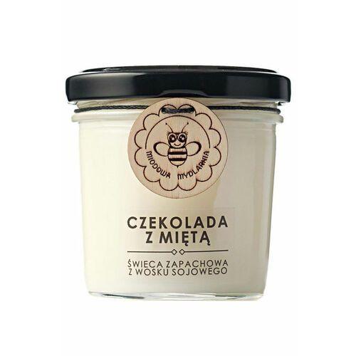 czekolada z miętą świeca zapachowa z wosku sojowego marki Miodowa mydlarnia