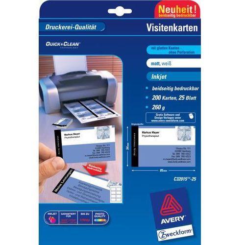 AVERY Papier wizytówkowy Quick&Clean, 85x54 mm, białe matowe, 260g, 80 wizytówek, opakowanie 25 ark.