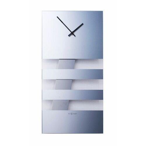 Zegar ścienny z wahadłem Bold Stripes Nextime 38 x 19 cm, lustrzany (2855 MI) (8717713002550)