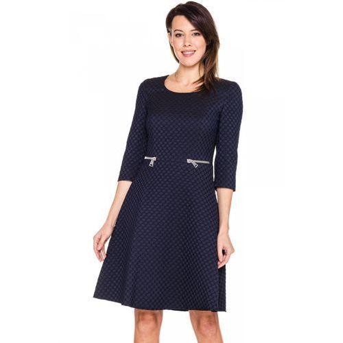Granatowa sukienka w tłoczone kółka - Potis & Verso