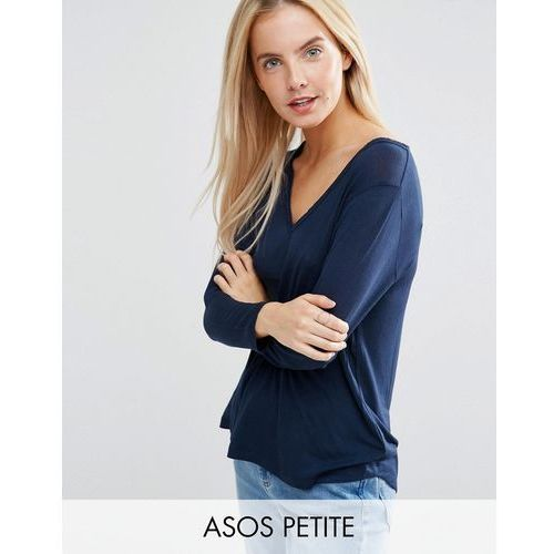 ASOS PETITE The New Forever T-Shirt With Long Sleeves and Dip Back - Navy