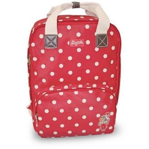 Plecak czerwony w kropki 30x12x40cm, kolor czerwony