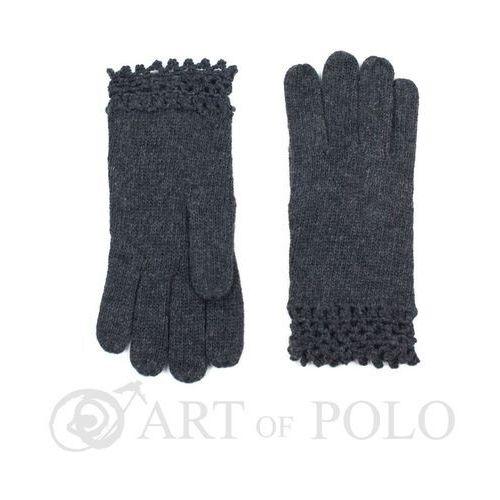 Evangarda Ciemnoszare wełniane rękawiczki damskie z ażurową koronką - szary