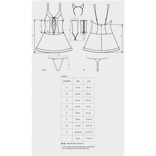 Obsessive (pol) Diabella kostium 4-częściowy s/m