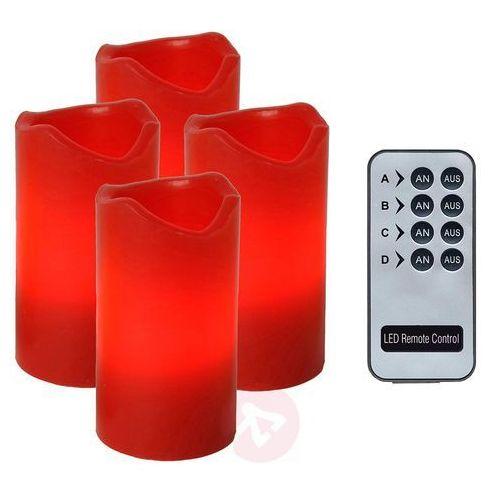 Zestaw 4-cz - Candle LED-świece z pilotem czerwony