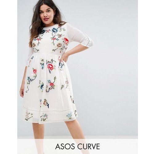 premium midi skater dress with floral embroidery - white marki Asos curve