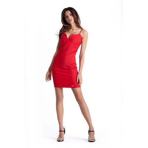 Ołówkowa Czerwona Sukienka na Cienkich Ramiączkach, w 5 rozmiarach