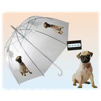 Parasol przezroczysty z pieskiem- duża otwierana ręcznie parasolka