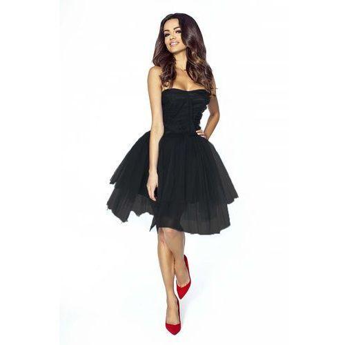 Czarna Sukienka Gorsetowa z Tiulu, KM207bl