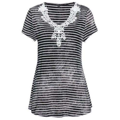 Shirt z długim rękawem i plisą guzikową (2 szt.) bonprix kobaltowo-biały + kobaltowy, kolor czarny