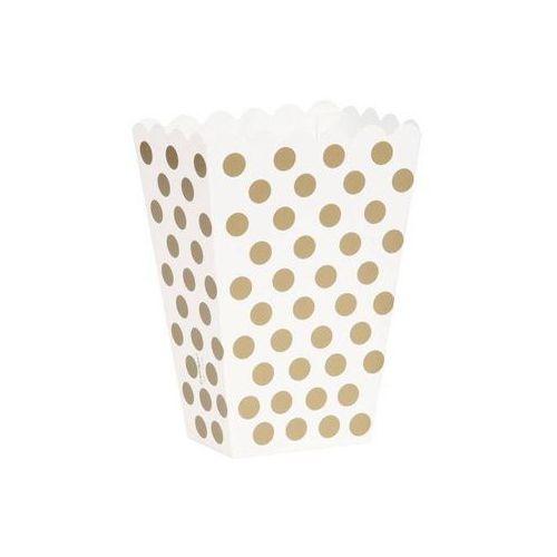 Pudełka na popcorn białe w złote kropki - 8 szt.