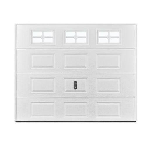 Vente-unique Brama garażowa segmentowa z kasetonami speos biała z okienkami