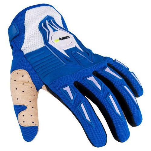 Motocyklowe rękawice kozun na cross, niebiesko-beżowy, xxl marki W-tec