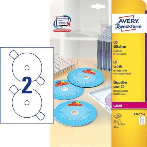 Avery zweckform Etykiety błyszczące białe supersize na płyty cd/dvd ø 117mm 25 arkuszy avery zwe (4004182233825)