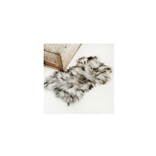 Narzuta / dywan z owczej skóry - biała z czarnym końcówkami marki Taftyli