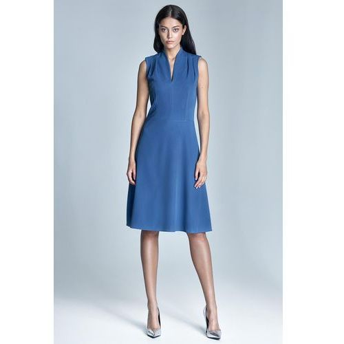 "Niebieska elegancka sukienka midi z dekoltem ""v"" marki Nife"