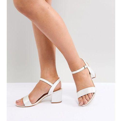 London Rebel Bridal Mid Block Heeled Sandals - Cream, kolor beżowy