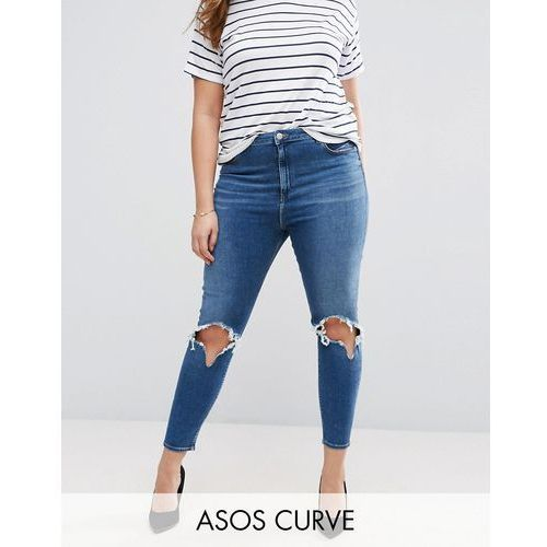 Asos curve  high waist ridley skinny jean in roy darkwash with rip & busts - blue