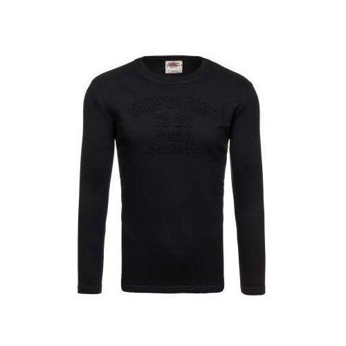 Bluza męska bez kaptura z nadrukiem czarna Denley 9096, kolor czarny